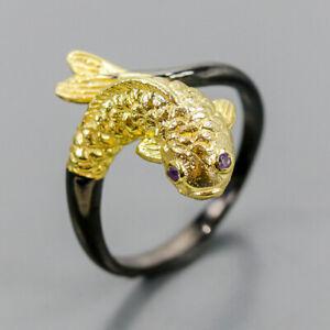 Handmade Amethyst Ring Silver 925 Sterling  Size 7.75 /R157339