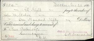1893 Boston Massachusetts (MA) Receipt Jas H. Prinoe Paint John M. Stoker Theo P