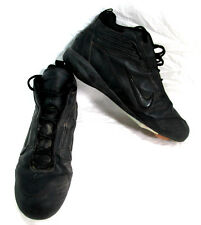 Nike Air Men's Black Leather Sports Cleats Flames on Bottom Size 15 US AS-IS