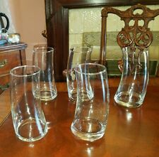 SET OF 5 SLANTED DRUNKEN BENT TIPSY TUMBLERS CLEAR Novelty GLASSES Highballs