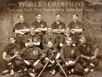 1900s WORLD'S CHAMPIONS INDOOR BASEBALL TEAM HEAVY DUTY USA MADE METAL ADV SIGN