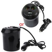 Car auto Cigarette Lighter Dual USB Charger Socket Cup Holder Adapter 12V Black
