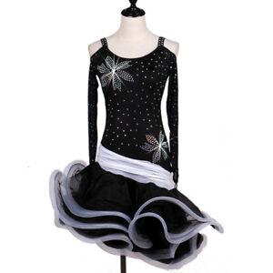Latin Dance Dress Salsa Tango Cha cha Ballroom Rhinestone Competition Dress F173