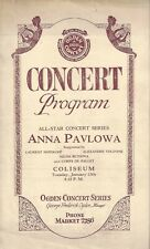 Mlle. ANNA PAVLOWA (Pavlova) Corps de Ballet 1920 Des Moines, Iowa Program