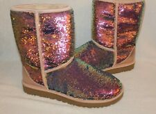 NIB Women's Shoes UGG CLASSIC SHORT COSMOS Sequin Boots Quartz Pink 7