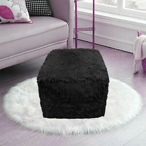 BLACK Cube Bean Bag Foot Rest Stool Pouf Living Room Footstool Teddy Chunky Pouf