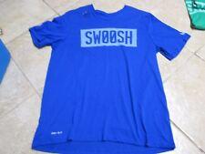 "NIKE ""SWOOSH"" DRI-FIT SLOGAN TEE (XL) NW/TAGS $25 BLUE W/WHITE LETTERS SOFT!"