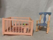 Pink Nursery Play Pen Rocking Rocker Chair Vintage Renwal Dollhouse Furniture