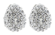 Clip On Earrings - silver plated cluster with rhinestone crystals - Harley S