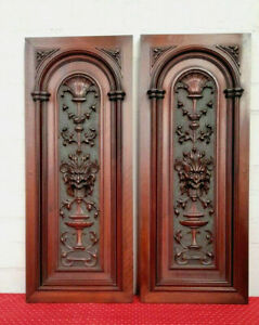 MAGNIFICENT PAIR OF LARGE GOTHIC ANTIQUE FRENCH CARVED WALNUT PANELS - C1880
