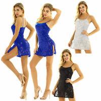 Women's Shiny Ballroom Party Waltz Tango Dance Dress Contemporary Stage Costume