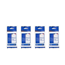 Brother TZe-FA3 Fabric Tape 12mm Tape Cassette (4pcs) - Fabric / Blue on White