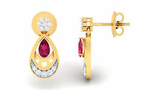 0.75 Cts Round Brilliant Cut Diamonds Ruby Stud Earrings In Fine 14K Yellow Gold