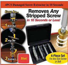 4x Broken Bolt Remover Speed Out Screw Extractor Drill Bits Guide Set Hand Tool