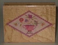 """All Night Media Rubber Stamp Vase Floral Design Wood Mount 3"""" x 2.25"""""""