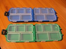 "2 Fishing Tackle Boxes 10 Compartment / 1 Green Box & 1 Blue / 3 3/4"" x 2 1/2"""