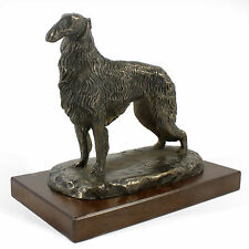 Borzoi stand-up, dog bust/statue on wooden base, UK