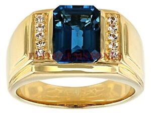 NWT Satya 18K Gold Plated Brass Sagittarius Zodiac Blue Topaz Ring Size 8