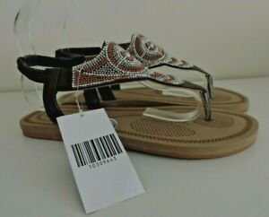 Brown Bead & Diamante Flat Toe Post Sandals Ethnic Holiday Comfort Sole UK5 EU38