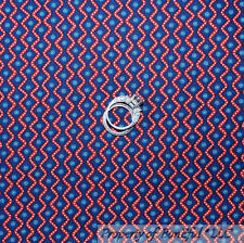 BonEful Fabric FQ Cotton Quilt Blue Red White Zig Zag Stripe Dot American Calico