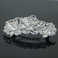 Clear Rhinestone Crystal Flower Barrette Silver Tone Hair Clip Bridal Party Gift