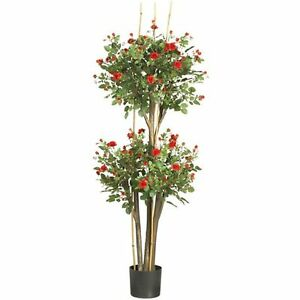 Decorative Natural Looking Artificial 5' Topiary Style Red Rose Silk Tree Plants