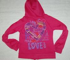 GIRLS Hoodie Sweat Jacket PEACE HEARTS LOVE Glitter Size 13-14 Pink