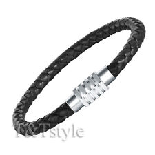 T&T Black Leather With S.Steel Magnet Buckle Bangle BR32D(6)