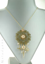 PILGRIM Disc Necklace BOHEMIAN Flower Charm Swarovski Enamel Gold/Pink BNWT