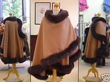 Camel Cashmere Cape With Brown Fox Fur Trim Beautifully Canadian Label