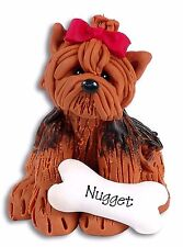 YORKIE PUPPY DOG Personalized Ornament Christmas Polymer Clay by Deb & Co.