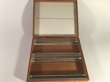 Wooden Antique Clay-Adams U.S. Microscope Slide Holder 100 Slots. No. A-1600/X