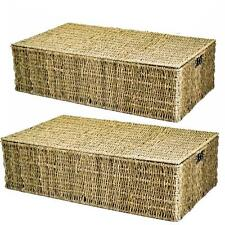 E2e Giant Seagrass Underbed Under Bed Storage Basket With Handle Holes Set of 2 Large  sc 1 st  eBay & Buy Seagrass Lidded Home Storage Baskets | eBay