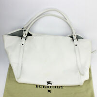 """Authentic Burberry Purse,Large Tote Bag #3516724 White """"Lawrence"""""""