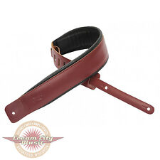 """Brand New Levy's Leather Guitar Strap 1 1/2"""" Padded Burgundy"""