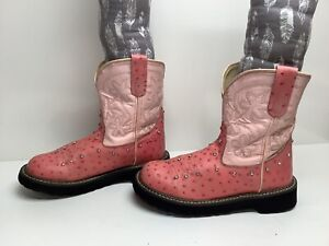 VTG WOMENS OLD WEST COWBOY OSTRICH PRINT PINK BOOTS SIZE 7
