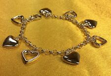 "Italy 925 Sterling Silver 7"" Heart Charms Ladies Bracelet Fine Jewelry"