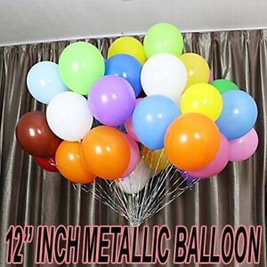 "100PCS Latex 12"" PEARL Metallic BALLOONS helium BALOONS Birthday Wedding deco UK"