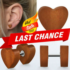 1 Pair Organic Carved Sawo Wood Illusion Fake Ear Plug Heart Shaped Earrings US