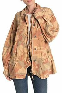 Free People Womens Lead The Way Camouflage Field Jacket  X-Small, Taupe Combo