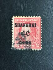 Stamps U.S.A. OPT Shanghai 4c China on 2cents Red.
