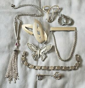 All Signed Vintage Jewelry Lot Silver Tone Sarah Coventry Crown Trifari Avon 8