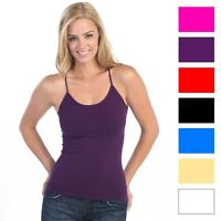4-Pack: Ladies Lycra Long Tank Top Camisoles with Adjustable Straps