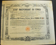 Belgisch Kongo Etat Independant du Congo Obligation 100 Francs 1888 dekorativ