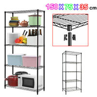 5 Shelf Chrome Wire Shelving Racking Heavy Duty Storage 150x75x35cm Black DCUK