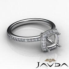 1Ct Classic Diamond Engagement Ring Cushion Shape Semi Mount 14k White Gold Halo