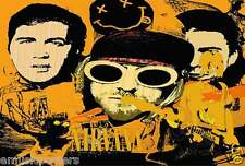 """Nirvana """"Band'S Faces & Smiley, Intoxicated Face"""" Poster From Asia -Grunge Music"""