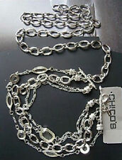 M48 CHICO'S Jewelry Glissta Chain Belt in Silver yellow Crystals ML RV$68