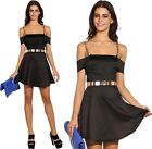 Gold Chain Straps Off Shoulder Party Dress L 10 12 Black Skater A-Line Cocktail