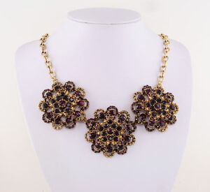 Necklace With Trio Of Rosette Gold Russia 14 KT And Amethyst Purple Joan Rivers